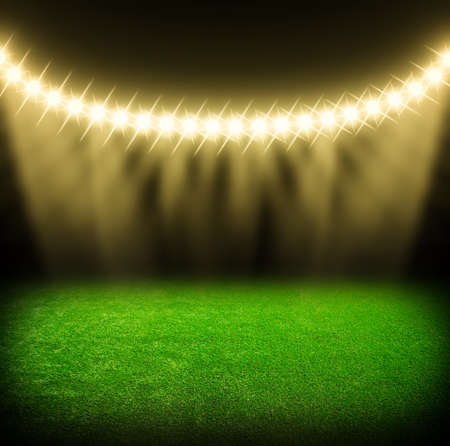 floodlit: the soccer stadium with the bright lights