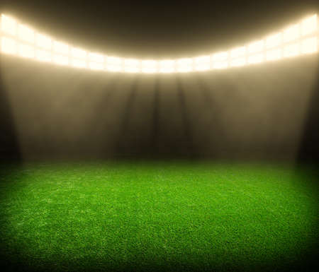 football goal: the soccer stadium with the bright lights