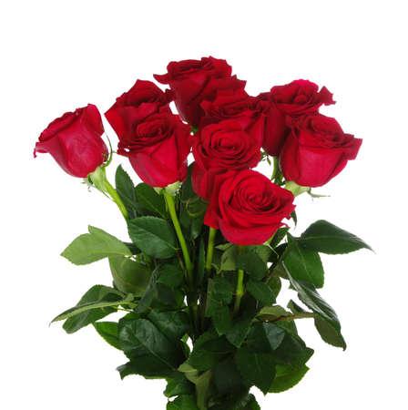 Rosas rojas ramo en el fondo blanco