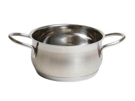 stalen kookpot op wit wordt geïsoleerd