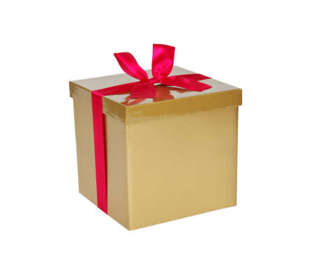 gold gift box: Gold gift box with red ribbon