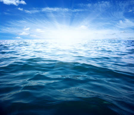 warm water: Blue sea and sun on sky