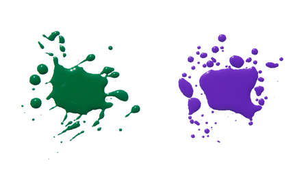 blobs: splats splashes and blobs of brightly colored paint in different shapes drips isolated on white Stock Photo