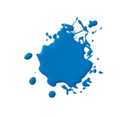 splats splashes and blobs of brightly colored paint in different shapes drips isolated on white Stock Photo