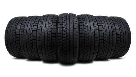 winter tires: Car tires isolated on white