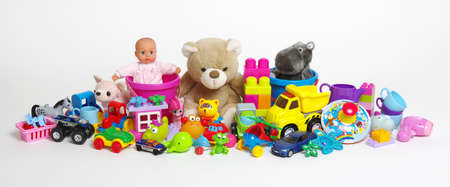 Toys on a white background