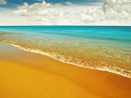 beach and sea on sky