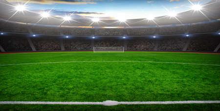 het voetbalstadion met de heldere lichten