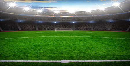 the soccer stadium with the bright lights Stock Photo - 94676735
