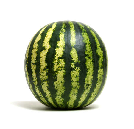 Ripe striped watermelon isolated on white Stock Photo - 100473747