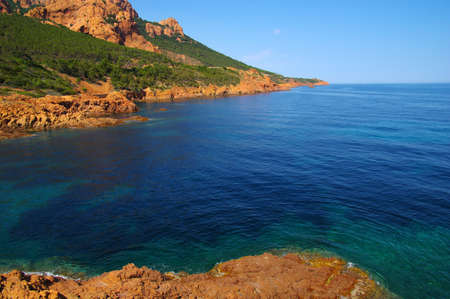 Landscape of the sea with rocks. Clear blue water in the bay. 스톡 콘텐츠
