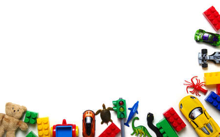 Kids toys background and colorful blocks