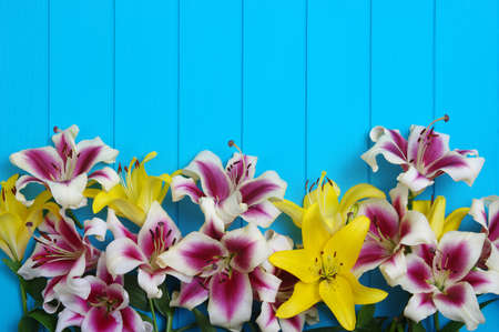 Fresh spring lily flowers on turquoise painted wooden planks Banque d'images - 120345251