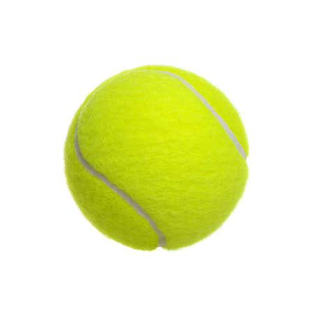 �lose-up of tennis ball isolated on white background