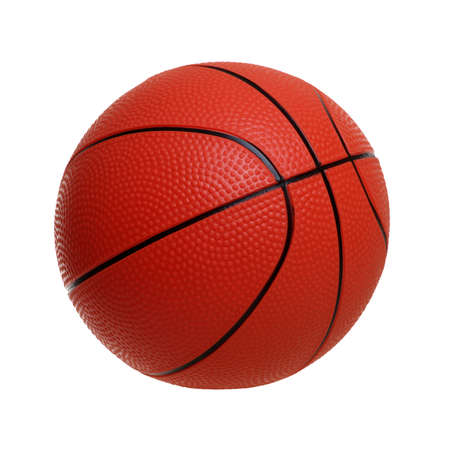 Juguete de baloncesto aislado sobre un fondo blanco. Foto de archivo