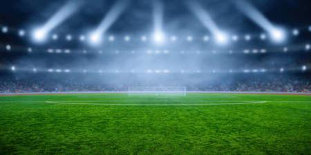 Fußballstadion mit Beleuchtung, grünem Gras und Nacht verschwommener Himmel Standard-Bild