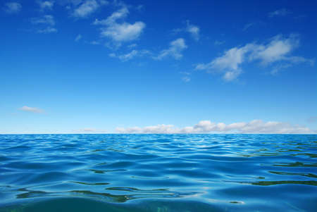 Blue sea water surface on sky Stock Photo