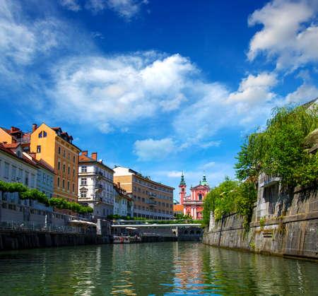 Cityscape view on Ljubljanica river in Ljubljana old town. Slovenia.