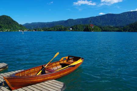Boats at the pier, Lake Bled, Slovenia.