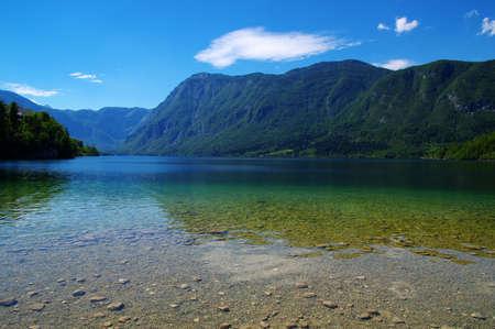 Landscape Bohinj Lake,with clear water.Triglav National Park, Julian Alps, Slovenia,Europe. Imagens
