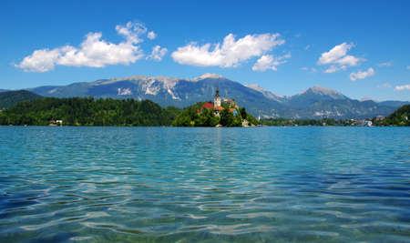 Lake Bled and mountains. Slovenia, Europe.