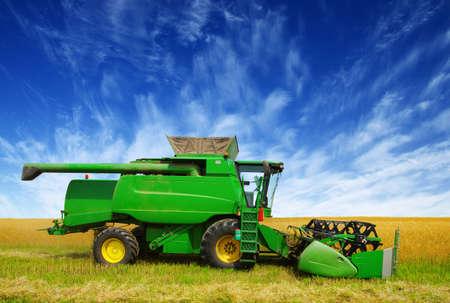 Harvester harvests. Combine working in field.