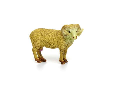 Toy ram isolated on white background. Stock Photo