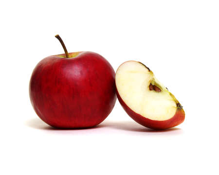 Apple with slice on a white background. Stockfoto
