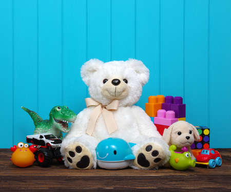 Toys on a wood background