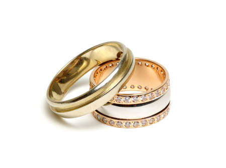 golden rings isolated on white background Stockfoto