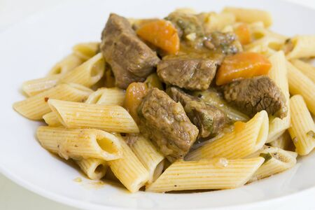 goulash: Beef goulash with macaroni Stock Photo