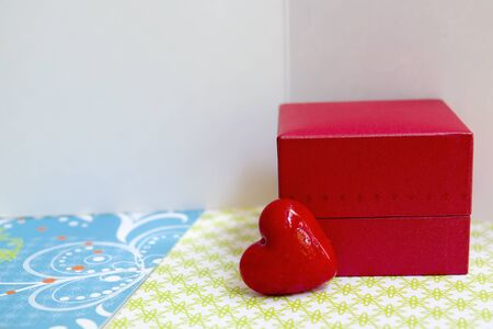 affections: Small red box and a heart with greeting cards