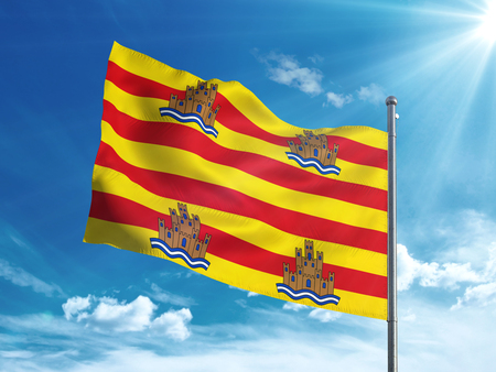 Ibiza flag waving in the blue sky Stock Photo - 82792149
