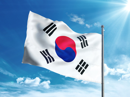 South Korea flag waving in the blue sky
