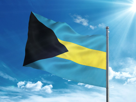 Bahamas flag waving in the blue sky