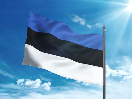 Estonia flag waving in the blue sky 免版税图像