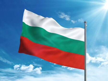 Bulgarian flag waving in the blue sky