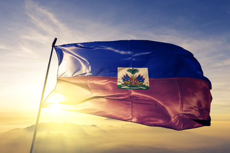 Haiti flag textile cloth waving Standard-Bild