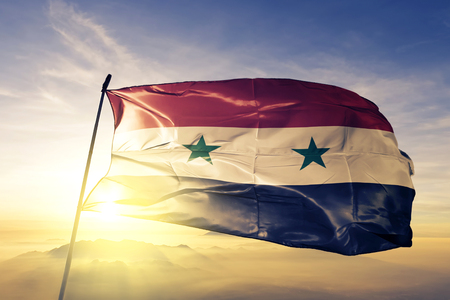 Syria flag textile cloth waving