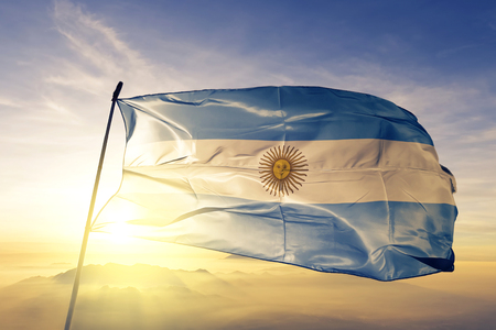 Argentina flag textile cloth waving Foto de archivo