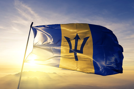 Barbados flag textile cloth waving