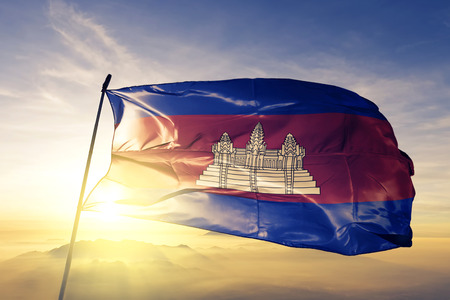 Cambodia flag textile cloth waving