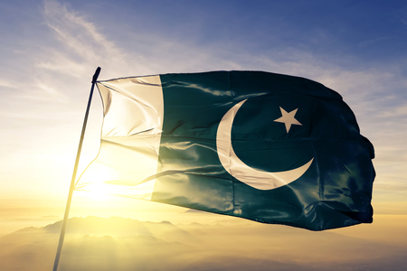 Pakistan flag textile cloth waving