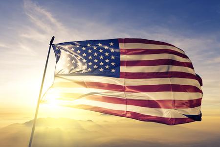 United States flag textile cloth waving