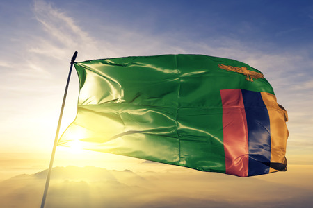 Zambia flag textile cloth waving
