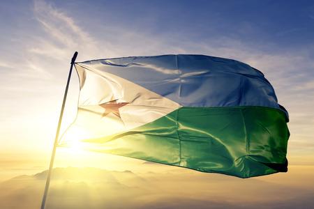 Djibouti flag textile cloth waving