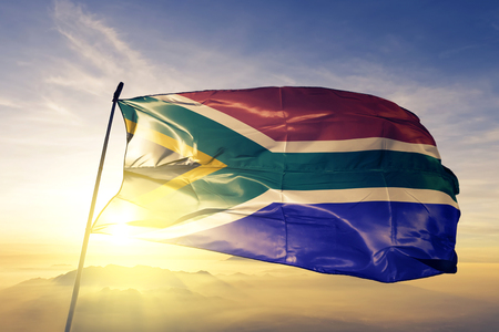 South Africa flag textile cloth waving