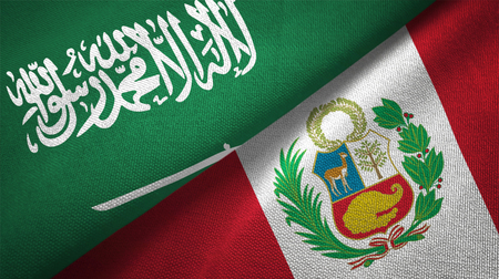 Peru and Saudi Arabia flags together relations textile cloth fabric texture Imagens