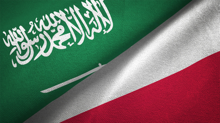 Poland and Saudi Arabia flags together relations textile cloth fabric texture Imagens