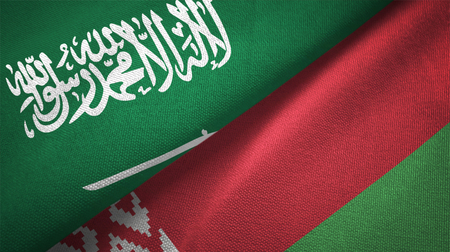 Belarus and Saudi Arabia flags together relations textile cloth fabric texture
